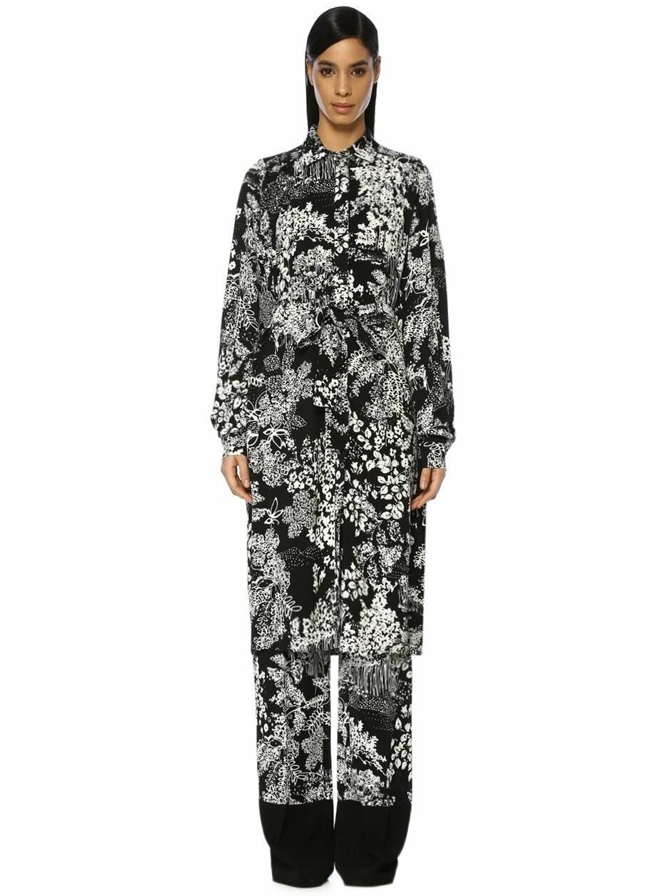 87e46fc291203 Kadın Beymen Collection Botanik Desenli Kuşaklı Midi Krep Elbise